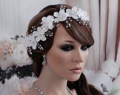 VENTA plata cristal vid diadema perlas nupcial por EleganceByKate