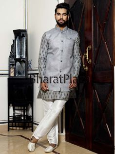 Update your wardrobe with this decent and exclusive design.  Item Code: SKB1094W http://www.bharatplaza.com/new-arrivals/kurta-pyjamas.html