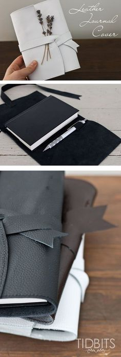 66f9a37eabc2 DIY Leather Journal Cover. An easy project with minimal sewing. Perfect as  a gift