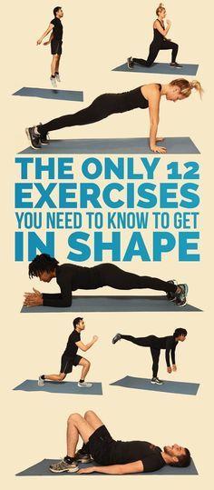 12 exercícios básicos e bons. Com sugestões de cirtuito pra fazer em casa. Os gifs animados são fofos.
