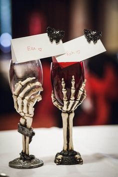 A Fancy Dress Halloween Wedding: Oddd & Elle - painted wine glasses to kinda look like these, not as realistic because not 3D but still very cute