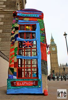 Phone Box Cosy the Revenge - mischief managed by Knit the City, via Flickr -