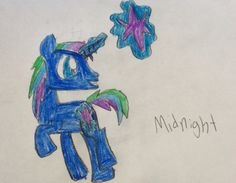 Midnight is a fun and adventurous pony.. He loves to go night swimming and being with his best friend Sun Wave.. Soon he's going to join princess Luna's royal guard.. 60 bits to adopt.