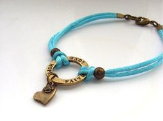Words charm bracelet turquoise cord