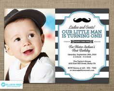 Little Man Invitation Mustache Invitation First by EllisonReed, $16.00