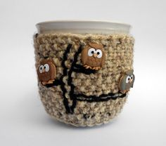 Knitted Brown Mug Cup Cozy with Owls by stinkR on Etsy, $17.00