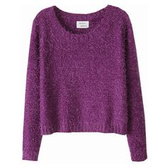 Chicnova Fashion Simply Mohair Round Collar Pullover ($24) ❤ liked on Polyvore featuring tops, sweaters, shirts, chicnova, mohair sweater, sweater pullover, long sleeve pullover, purple shirt and long sleeve tops