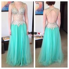 Mint Green Deep V Neck Sleeveless Illusion Beaded Bodice Tulle Floor Length Prom Dress With Open Back