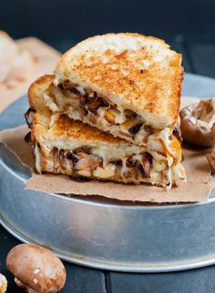 7 Grown-Up Grilled Cheese Recipes That Make Us Melt -- Smoked Swiss and Mushroom Grilled Cheese Grill Sandwich, Grill Cheese Sandwich Recipes, Grilled Cheese Recipes, Soup And Sandwich, Grilled Cheeses, Grilled Ham, Panini Recipes, Burger Recipes, Ideas Sándwich