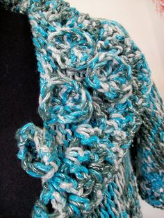 Tapado de hilo  con final de flores crochet