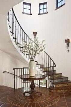 Gorgeous tile stairs <3...Entry - mediterranean - entry - los angeles - Dayna Katlin Interiors  #tile #staircase #stairs #steps #stairway #riser #Mexican #Spanish #Hacienda