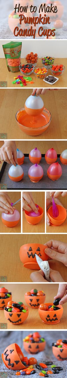 DIY Pumpkin Candy Chocolate Cups for Halloween -- could be used for Christmas snowmen!