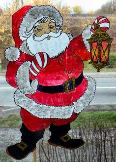 wicoart window color sticker static cling christmas pere noel lanterne santa - Windows Color Noel