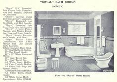 "Laurelhurst 1912 Craftsman: Bungalow Bathroom Research. The 1920 McAvity ""Royal"" Bath Suite. It has a separate corner shower and a bit of colored tile in the wainscoting."