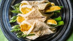 Three ways with... ASPARAGUS! These lovely asparagus and haloumi rolls, asparagus with anchovy butter and asparagus with lemon cream vinaigrette. Yum!