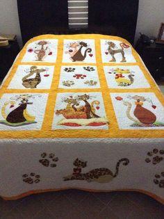 Cat Quilt Patterns, Applique Patterns, Applique Quilts, Embroidery Applique, Applique Designs, Quilting Templates, Quilting Designs, Cat Crafts, Diy Arts And Crafts