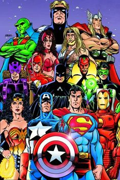 Captain America & Avengers and Superman & JLA by George Perez
