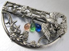 Art Nouveau Dove Bird Flower Brooch Sash Pin by TonettesTreasures