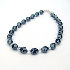 Sophie - Haematite & Crystal necklace £20.00