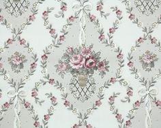 1940's Vintage Wallpaper - Floral Wallpaper with Pink Roses in Baskets Damask