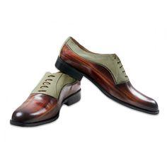 Jacopo Ridolfi scarpe uomo fatte a mano Oxford Effetto legno marrone con scamosciato verde salvia