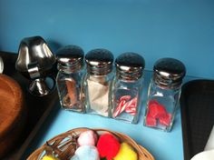 Smell bottles for sensory work, made from salt shakers (fill with cinnamon sticks, tea bags, candy canes, etc)