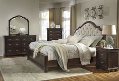 Moluxy Traditional Brown Wood Glass 5pc Bedroom Set W/King Sleigh Bed B596-BR-S1