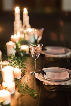Garland Table Runner with Fresh Ferns and Candles   Megan Robinson Photography and Leslie Dawn Events   Candlelight Winter Wedding Ideas in Green and White