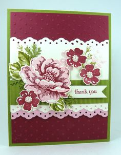 SU! Stippled Blossoms stamp set in  Razzberry Ripple, Old Olive, Pretty In Pink and Very Vanilla - Michelle Surette