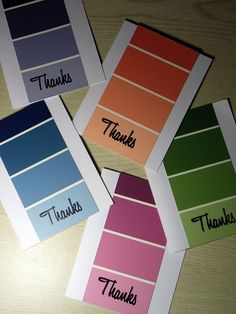Creative Exploration.: Thank You Paint Chip Cards.   Another thank you or some other thank you stamp.  :))  Instead of paint chips use up CS scraps.