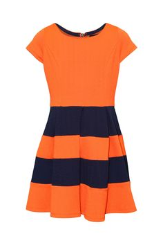 My Michelle Big Girls' Dress with Solid Bodice and Stripe Skirt
