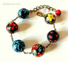 Bracelet ajustable perles peintes en noir par LesBijouxDeMarie, €23.50