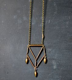 Brass Pentahedron Necklace with Bullet Drops