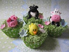 Farm animal cupcakes (pollyd (Paula)) Tags: green grass animals pig cow duck sheep farm chick novelty lamb 1stbirthday pollyd1970