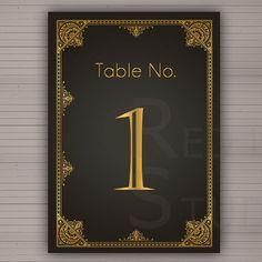 Art Deco 1920s theme | Table numbers DIY Printable 1920 Art Deco Theme by redlinecs, €10.00
