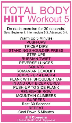 Total Body No Excuses HIIT Workout 5 - Jill Conyers - Healty fitness home cleaning Hitt Workout, Week Workout, Boxing Workout, Workout Plans, Workout Ideas, What Is Hiit, Workout Session, High Intensity Interval Training, Total Body