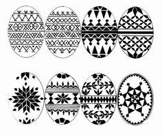 Czech folk patterns for kraslice (painted eggs or, pysanki).