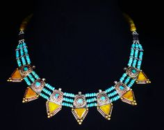 Nepalese 7-Points Necklace w/Turquoise and Jade