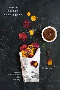 red and yellow beet chips. one point for the super simple ingredients. two points for that gorgeous photo.