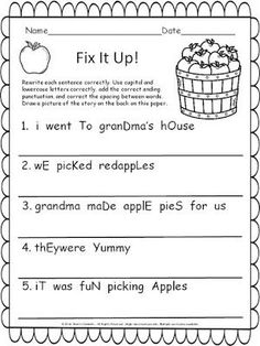 FREEBIE! Includes 8 pages of Language Arts and Math (writing - tell a story, reading comprehension - Who? What? Where?, fix it up sentences, scrambled sentences, morning work, ten frames, addition word problem, and subtraction with manipulatives) K-2 resource