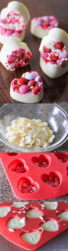 Make this super easy candy for Valentine's Day this year! All you need is white chocolate, sprinkles, and M&M's! Add a few of these to your kid's lunchbox for a surprise snack!
