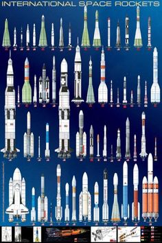 International Space Rockets NASA Education Poster from BananaRoad Posters. Space Shuttle, Space Telescope, Cosmos, La Petite Taupe, Space Rocket, Tech Rocket, Mary Cassatt, Nasa Astronauts, Space And Astronomy