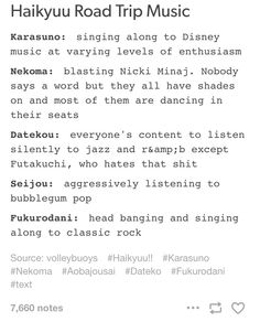 Haikyuu teams and music
