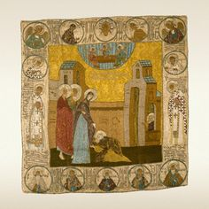SHROUD. APPEARANCE OF THE MOTHER OF GOD TO ST. SERGIUS OF RADONEZH Last quarter of 15th c. Moscow. Workshop of Grand Princess Maria Yaroslavna. Artist of the circle of Dionisi Damask – Italian, 15th c.; silk, silver and gold spun threads; weaving, embroidery 51 х 49