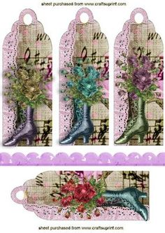 VINTAGE EPHEMERA BOOTS WITH ROSES BOOKMARKS on Craftsuprint - Add To Basket!