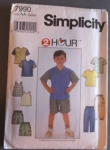 Simplicity 7990 Boy's Pants or Shorts and Knit Top and Tank Top - in 2 hours - S - Sewing Patterns