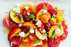 Tomato & Nectarine Salad | .canadianliving.com Nectarine And Tomato Salad, Cherry Tomato Salad, Tomato Salad Recipes, Cherry Tomatoes, Healthy Recepies, Lunches And Dinners, Soup And Salad, Caprese Salad, Superfood