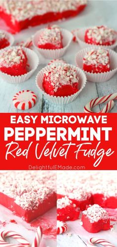 Gorgeous red velvet fudge topped with crushed peppermints is the perfect way to ring in the holiday season!  This delicious peppermint fudge recipe is perfect for your holiday candy trays, cookie exchanges and Christmas parties! || Delightful E Made