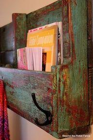 Pallet bookshelf with hooks