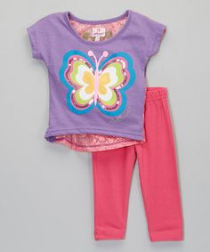 Look what I found on #zulily! Purple Butterfly Lace Top & Leggings - Infant, Toddler & Girls #zulilyfinds